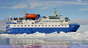 M/V Sea Endurance cruise ship among icebergs